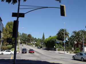 Looking up Western toward Los Feliz